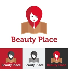 Flat beauty shop or spa salon logo set vector