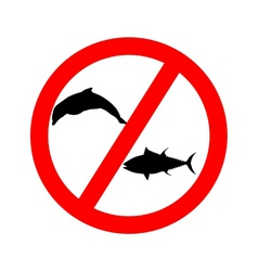 Prohibition sign tuna dolphin fishing vector