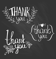 A set of style thank you design elements vector