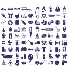 Baby items icons vector