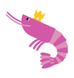 Royal shrimp in gold crown giant sea cancroid vector