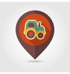 Tractor flat mapping pin icon with long shadow vector
