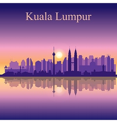 Kuala lumpur silhouette on sunset background vector