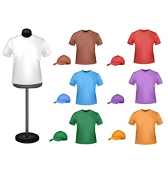 Colored shirts with a mannequin vector