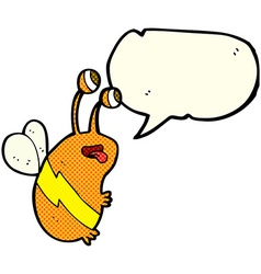 Cartoon funny bee with speech bubble vector
