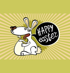 Vintage happy easter card cute bunny and hand vector