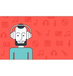Man listening to music vector