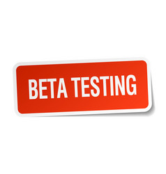 Beta testing red square sticker isolated on white vector