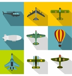 Aircraft icons set flat style vector