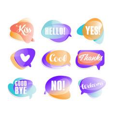 Colorful transparent speech bubbles with short vector