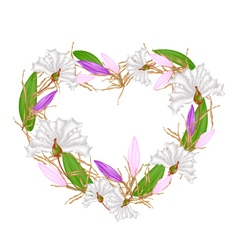 Crape myrtle and equiphyllum in heart shape vector