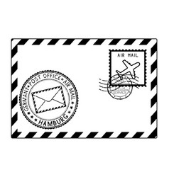 envelope black icon with postmarks hamburg vector image vector image