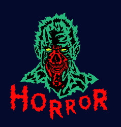 evil demon head of the with a torn face vector image