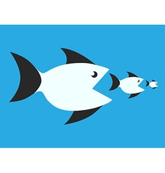 Fishes eating each other vector image
