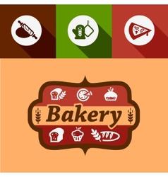 Flat bakery design elements vector
