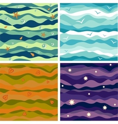 Four seamless thematic backgrounds vector image vector image