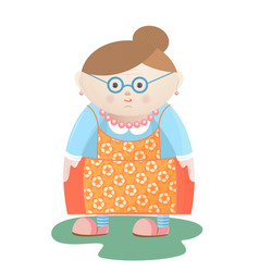 Funny grandmother with glasses with pearl beads vector