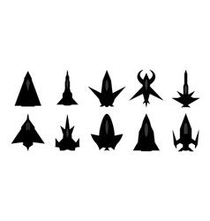 Futuristic spaceship silhouettes set vector