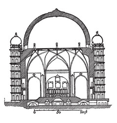 Gol gumbaz section tomb of mahmud vintage vector