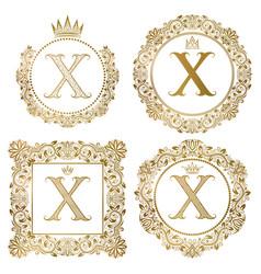 Golden letter x vintage monograms set heraldic vector