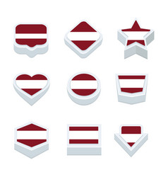 Latvia flags icons and button set nine styles vector
