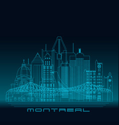 montreal skyline detailed silhouette vector image