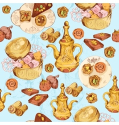 Oriental sweets seamless background vector image vector image
