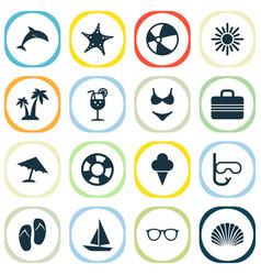 Season icons set collection of baggage bikini vector