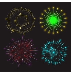 Set of festive fireworks vector