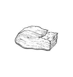 Sketch lard meat isolated vector