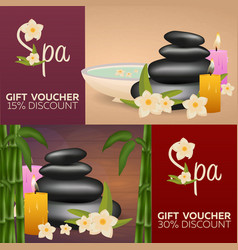 Spa salon gift certificate wood texture vector