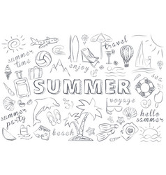 summer hand drawn icons set vector image
