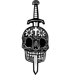 Sword and Day of Dead Skull vector image