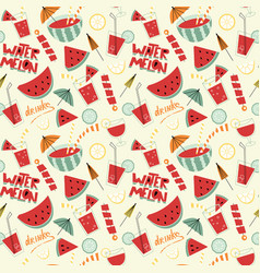 watermelon cocktails seamless pattern vector image vector image