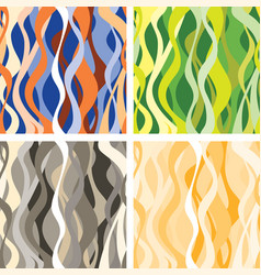 Wave seamless pattern set abstract wavy floral vector