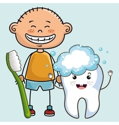 Smiling cartoon child with toothbrush and big vector