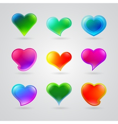 collection of different color hearts vector image
