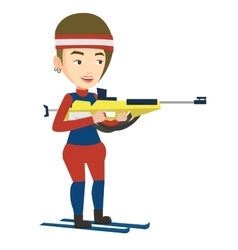 Cheerful biathlon runner aiming at the target vector