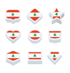 Lebanon flags icons and button set nine styles vector