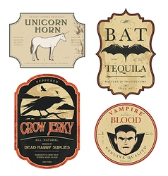 Funny vintage colored Halloween potion labels vector image