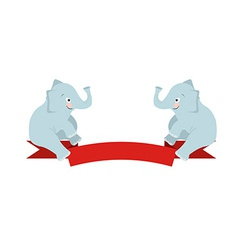 The flat figure two elephant sit on red ribbon vector