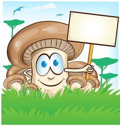 Mushroom cartoon with signboard on forest vector