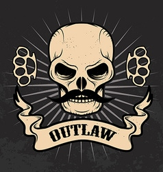 Outlaw skull with moustache vector