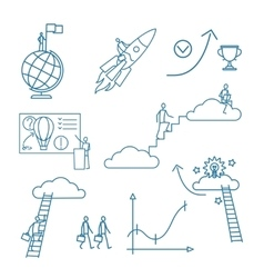 Doodle business people icons vector