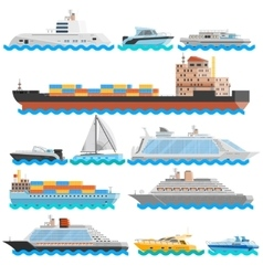 Water transport flat decorative icons set vector