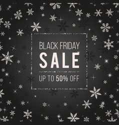 black friday sale banner design with snowflakes vector image vector image