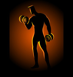 Bodybuilder lifting dumbbells vector