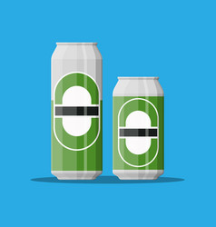 Can of beer with glass beer alcohol drink vector