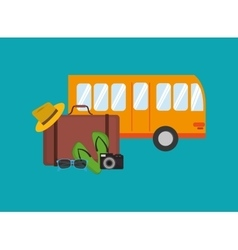 City bus with traveling related items icon vector