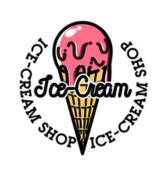 color vintage ice-cream emblem vector image vector image